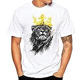 Blouse, Han Shi Fashion Men T-shirt Lion Print Plus Size Short Shirt Vest Tank