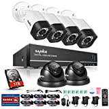 SANNCE 8CH 1080N Security Camera System CCTV DVR with 1TB Hard Drive and (6) 720P Night Vision Surveillance Cameras, IP66 Weatherproof