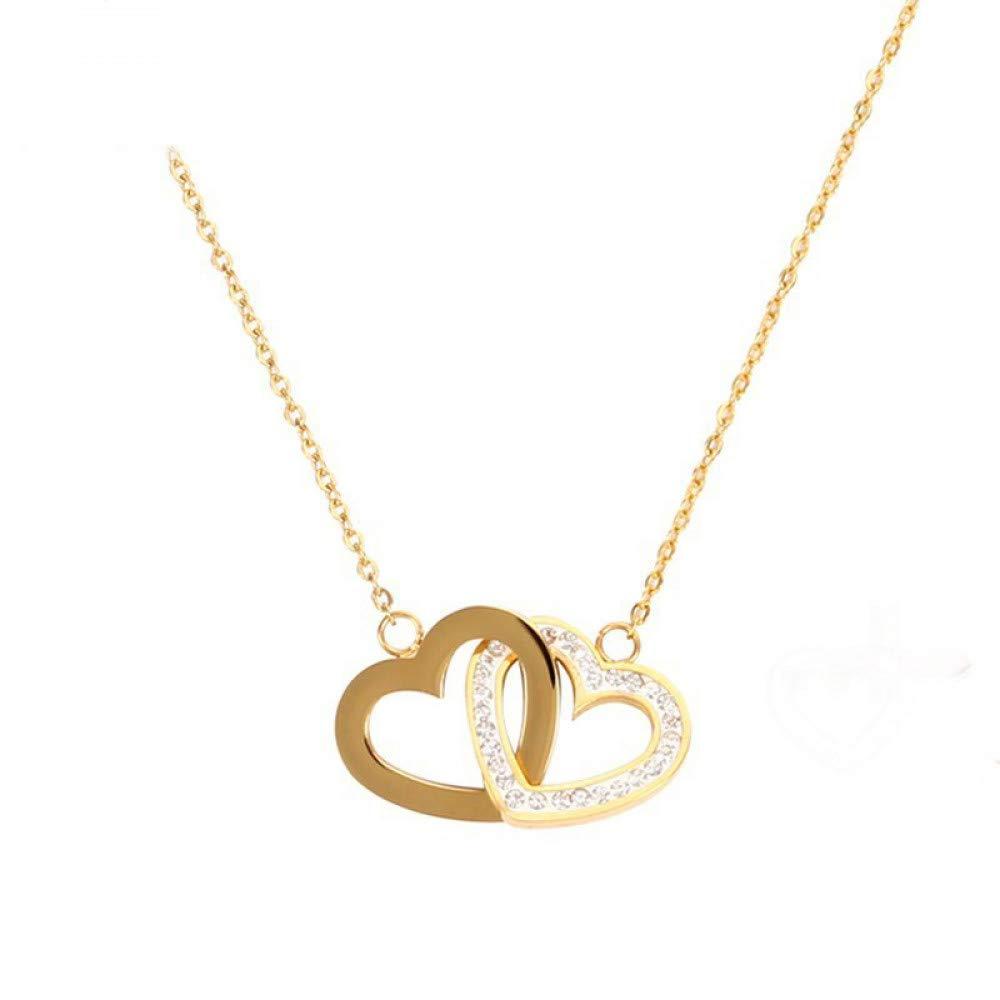Burenqiネックレス女性のためのハートペンダント可憐な形キュービックジルコニア石ゴールドディップゴールドジュエリー用女性ティーン、ゴールド   B07L6G3W49