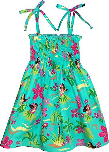 RJC Girl's Hula Spring Hawaiian Smocked Dress Teal 5