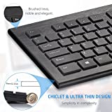 Mpow Wireless Keyboard and Mouse Combo, Ultra-thin Chiclet Keyboard and Mute Mouse, 2.4GHz 26ft Wireless Connection with USB Receiver for PC Desktop Computer Laptop Mac Tablet