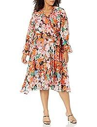 Women's Long Sleeve Surplus Wrap Dress with Smocking Detail