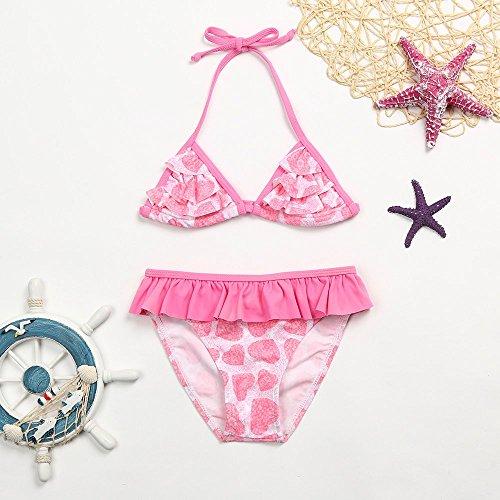 4 Bikini Amlaiworld Impression Maillot Froncé Tenue 8 Swimwear Fille Halter Pièces Gilet Ans De Laminage Coeur Sling Natation Volants Rose Floral Enfant Bébé Set Culottes Bain Deux PgxvPqr