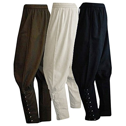 Men's Ankle Banded Pants Medieval Viking Navigator Pirate Costume Trousers Renaissance Gothic Pants (XXL, White) -