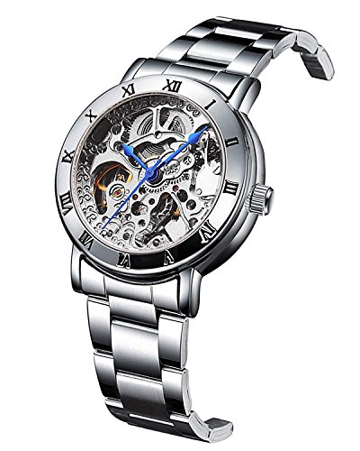 (Women Skeleton Dial Silver Stainless Steel Watch Automatic Mechanical Bracelet Watch )