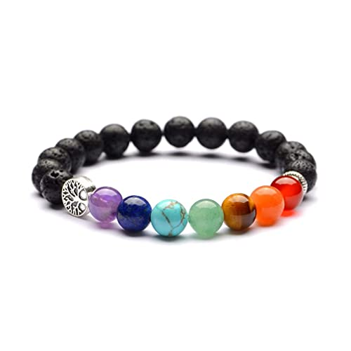 Amazon.com: YAZILIND 7 Color Chakela Yoga 8mm Natural Stone ...