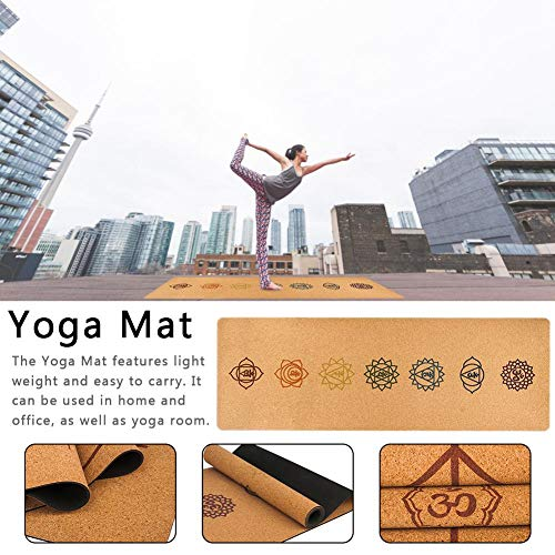 Yoga Mat – Natural Rubber Yoga Mat Cork Yoga Blanket 5MM Anti-Slip Gym Pilates Sports Mats 18368CM
