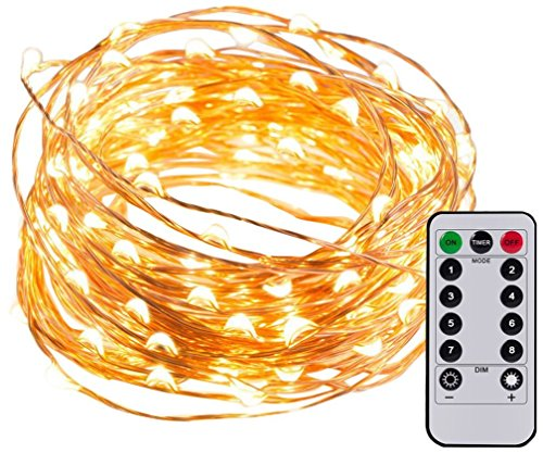 Copper White Bulb - Magic Hue Decorative Fairy String Lights, 16.4ft 50 LEDs Waterproof Dimmable String Lights, 8 Patterns Warm White Copper Lights with Remote Control for Halloween Weddings Birthday Parties