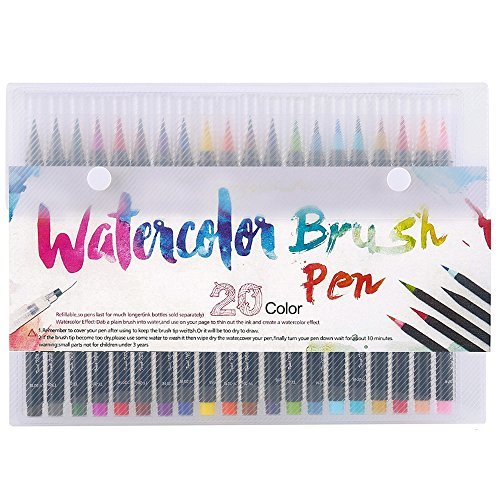 - Mychooseus watercolor brush markers,watercolor brush pen set 20,watercolor brush pens premium soft flexible tip for kids Coloring, Painting, Drawing