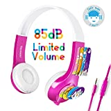 Mimoday Kids Headphones Kindle Fire Kids Edition Tablet Volume Limiting Microphone Over Ear Headphones Boys Girls(Pink)