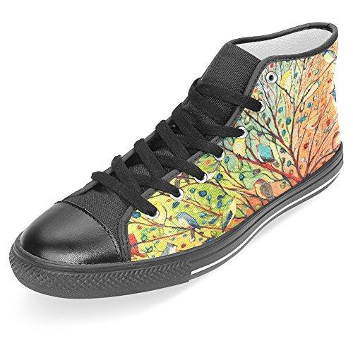 Interestprint Mujeres High Top Classic Casual Canvas Zapatillas De Moda Zapatillas De Deporte Lace Up Sneakers Tree And Birds