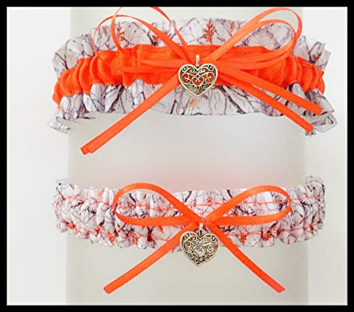Sexy Camouflage White Orange Satin Camo Garter Set - Small Swirl -