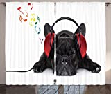 Ambesonne Dog Lover Decor Collection, Bulldog Listening to Music with Earphones Headphones Relaxing on The Floor, Living Room Bedroom Curtain 2 Panels Set, 108 X 84 Inches, Black Red