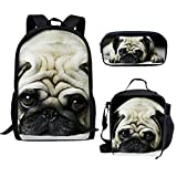 Bigcardesigns Cute Pug Designer Backpack School Bag with Lunch Bag Pecil Case 3 Set for Students