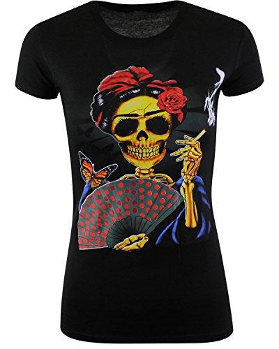 (ShirtBANC Day of The Dead Skeleton Womens Shirt,Black,Medium)