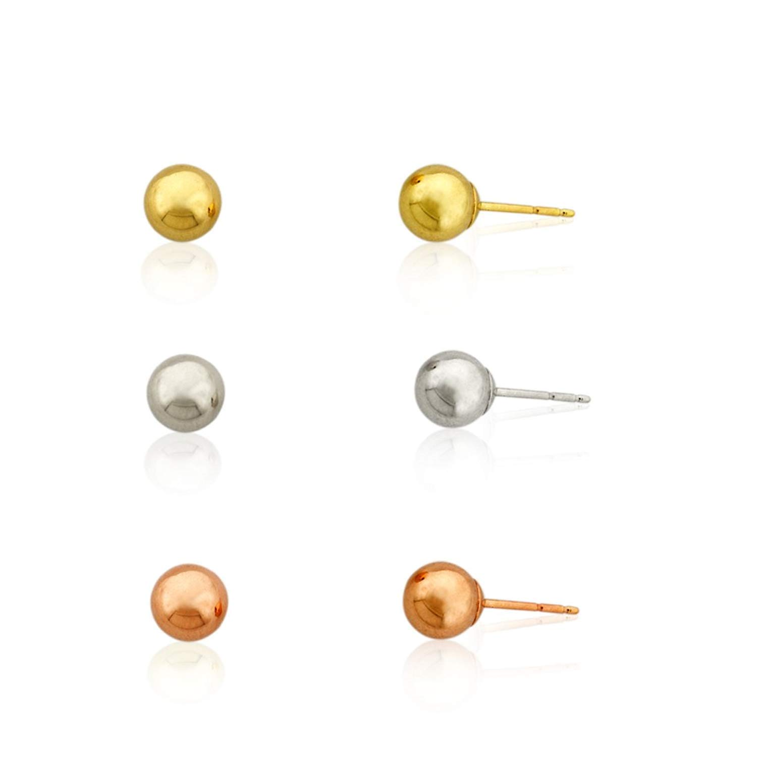 3-Pair 10K Yellow, White, and Rose Gold Three Color Polished Ball Stud Earrings Set