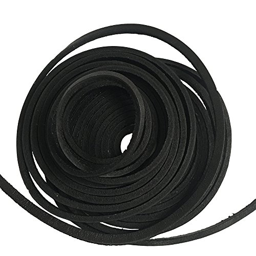 Extra Long 181 Inches Genuine Leather Shoe Laces 4x3.5mm (Black) by E-Tree