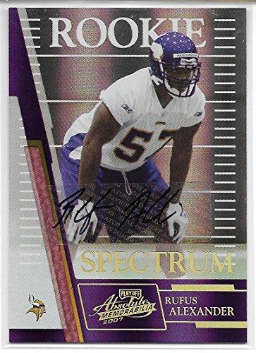 2007 Absolute Memorabilia Football Rufus Alexander Spectrum Auto Rookie Card # 25/25