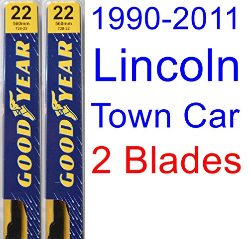 1990-2011 Lincoln Town Car Replacement Wiper Blade Set/Kit (Set of 2 Blades) (Goodyear Wiper Blades-Premium) (1991,1992,1993,1994,1995,1996,1997,1998,1999,2000,2001,2002,2003,2004,2005,2006,2007,2008)