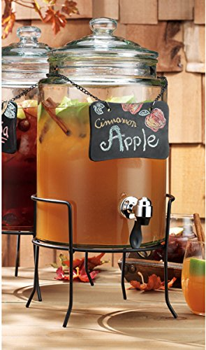 (Home Essentials & Beyond Del Sol Glass Beverage Drink Dispenser With Knobbed Lid, Chalkboard On Chain, On Metal Stand and Raised Easy Flow Spigot, 1.5 Gallon for Picnics Parties Bbq )