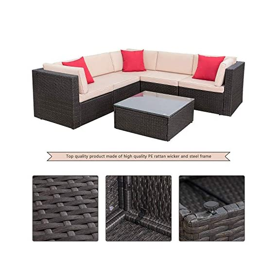 Homall 6 Pieces Patio Furniture Sets Outdoor Sectional Sofa All Weather PE Rattan Patio Conversation Set Manual Wicker Couch with Cushions and Glass Table (Beige) - Widely used: It can satisfy 4-5 people to eat and talk comfortably without feeling crowded. Suitable for your courtyard, patio, backyard and poolside, and it will make your space more modern and elegant. Free combination: In order to give you and your family more comfortable experience and more choices, we designed this Homall set. It can be rearranged in a variety of ways to fit your decorations or space. Easy to clean: Cushions are equipped with zippers for easy disassembly and are washable. The easily removable tempered glass on the table is very convenient to clean after use, meanwhile is very firm. - patio-furniture, patio, conversation-sets - 517ZHgyS9oL. SS570  -