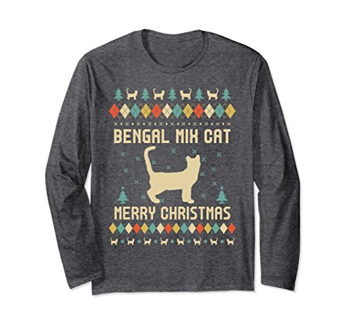 Unisex BENGAL MIX CAT Ugly Christmas Sweater Long Sleeve T-Shirt 2XL Dark Heather