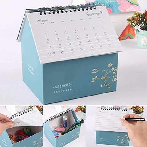 Calendario 2019 con caja de almacenamiento, organizador de computadora con forma de casa para oficina, calendario diario para...