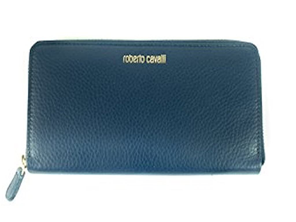 Roberto Cavalli Women's Dollar Print Wallet with Plate Logo in Electric Blue GSA012