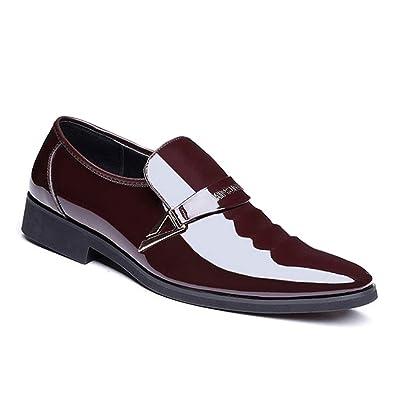 Tenthree Formal Shiny Patent Shoes Mens Men Pumps Slip On Ankle