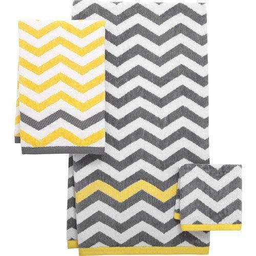 Amazoncom Mainstays Chevron Decorative Bath Collection Yellow