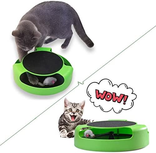 FYNIGO Cat Interactive Toys with a Running Mice and a Scratching Pad,Catch The Mouse,Cat Scratcher Catnip Toy,Green 7