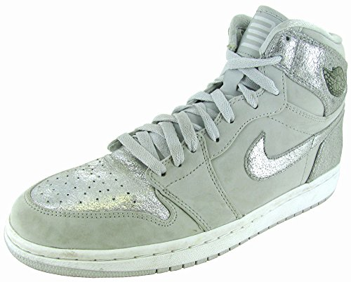 Mens Jordan Leather 1 NIKE Retro White Silver Grey Silver Air Hi dq1aExw6