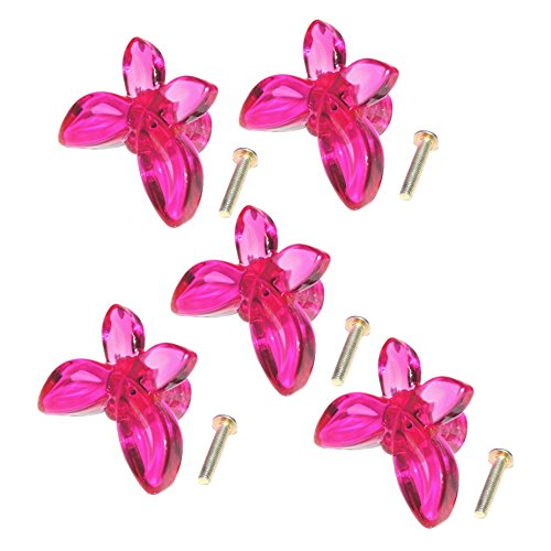 SODIAL(R) 5pcs Butterfly Design Drawer Pull Door Cabinet Knob Handle--Transparent Fuchsia