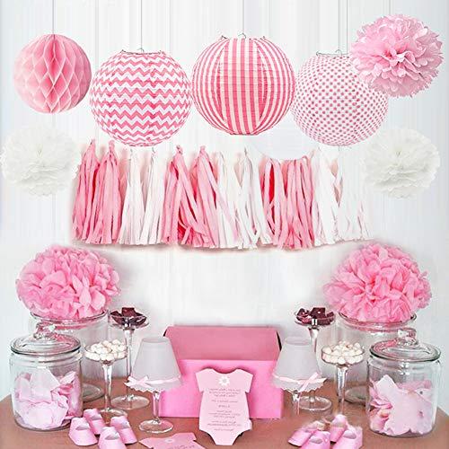 HappyField Baby Girl Baby Shower Decorations Girl Birthday Party Decorations Tissue Pom Poms Paper Lanterns Tissue Paper Tassel Tissue Honeycomb Balls Baby Pink Party Supplies