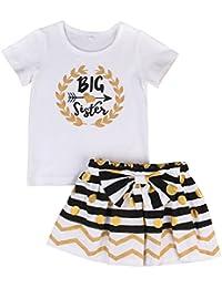 Baby Girl Big &Little Sister Bodysuit Tops Bowknot Striped Skirts Dress Set (2-3 Years, Big Sister)