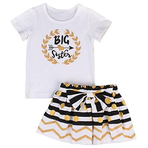 (Baby Girl Big &Little Sister Bodysuit Tops Bowknot Striped Skirts Dress Set (4-5 Years, Big Sister))