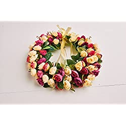 Rose Wreath Silk Floral Home Wall Decor Artificial Garland ...