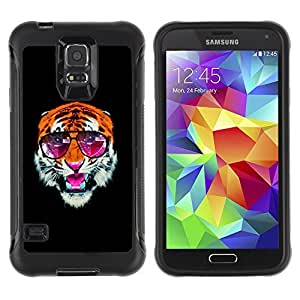 Hybrid Anti-Shock Defend Case for Samsung Galaxy S5 / Cool Tiger With Sunglasses wangjiang maoyi
