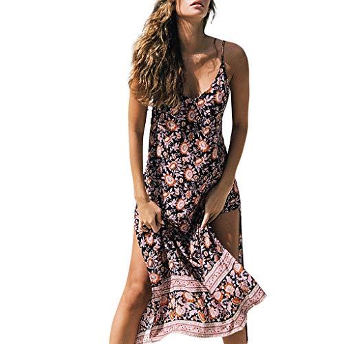 Women Plus Size Sexy Vintage Bohemia Sleeveless Camis Loose Fork Printed Wrap Bodice Crossover Maxi Dress
