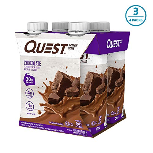 Quest Nutrition Chocolate Protein Shake, High Protein, Low Carb, Gluten Free, Keto Friendly, 12Count