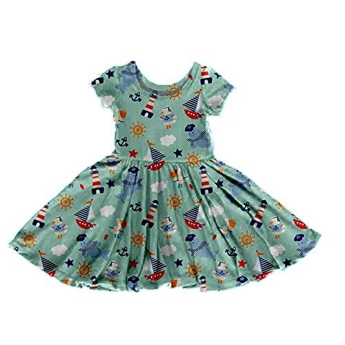 Plunkadoodle Dress - Baby, Toddler, Girls, Nautical Theme (Large (4T))