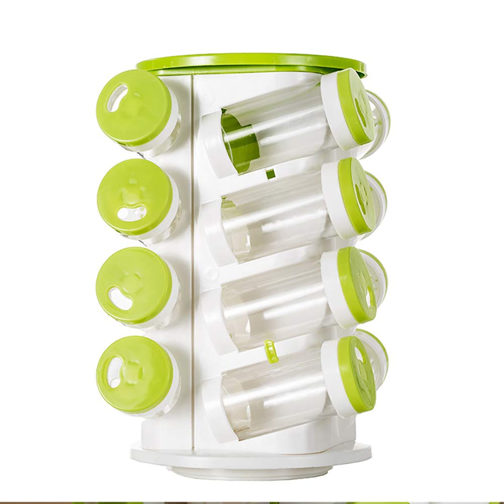 HSRG Storage 16 Jars Spice Rack Set, 4 Layers Standing Spice Herb Rack with 16 PS Bottles, Rotating Seasoning Rack for Kitchen Organizing