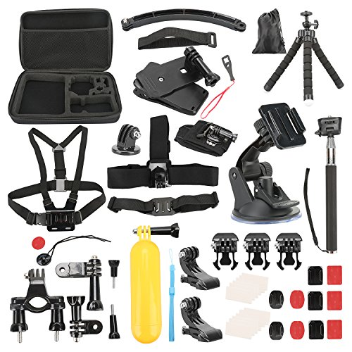 Basic Pro - Action Camera Accessory Kit for Hero Session/5 Hero 1 2 3 3+ 4 5 SJ4000 5000 6000 DBPOWER AKASO VicTsing APEMAN WiMiUS Rollei QUMOX Lightdow Campark And Sony Sports DV - Pack of 50