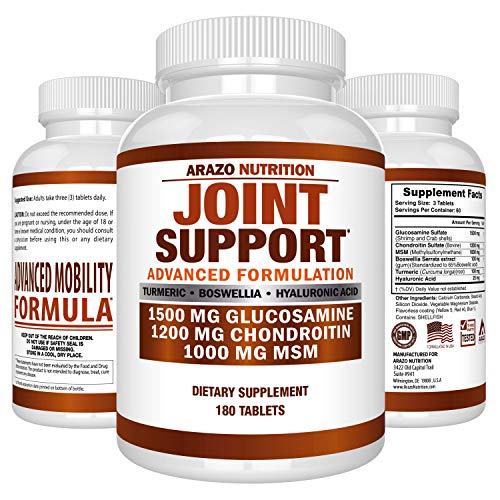 Glucosamine Chondroitin Turmeric MSM Boswellia - Joint Support Supplement for Relief 180 Tablets - Arazo Nutrition (Msm Herb)