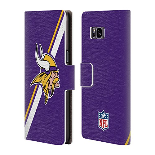 Official NFL Stripes Minnesota Vikings Logo Leather Book Wallet Case Cover For Samsung Galaxy S8 (Nfl Logo Leather)