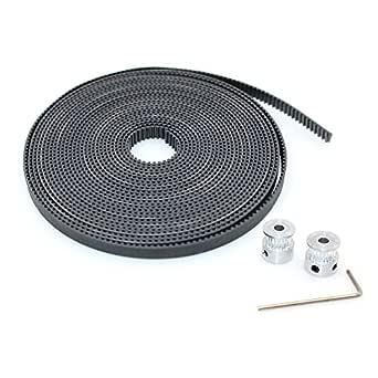 BIQU GT2 10 Meters Timing Belt + 2Pcs Bore 5mm 20Teeth Timing Pulley Wheel for 3D Printer