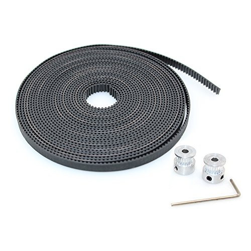BIQU GT2 10 Meters Timing Belt + 2Pcs Bore 5mm 20Teeth Timing Pulley Wheel for 3D Printer