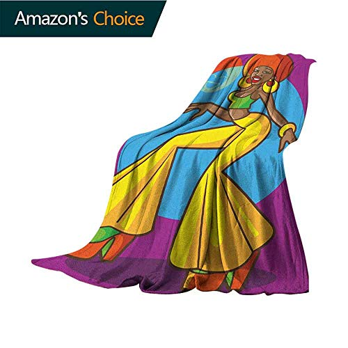 Guard 1970s Coast - 70s Party Summer Blanket,African American Woman Dancing at The Disco Funky Fashion with Smiling Face Art Lightweight Microfiber,All Season for Couch or Bed,70