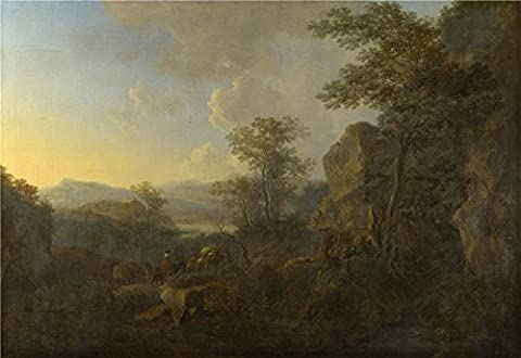 Oil painting 'Jan Both A Rocky Landscape with Peasants and Pack Mules ' printing on Perfect effect canvas , 16 x 23 inch / 41 x 59 cm ,the best Bedroom gallery art and Home decoration and Gifts is this Cheap but High quality Art Decorative Art Decorative Canvas (Zune Home A V Pack)