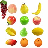 Yocome Realistic Artificial Fake Mixed Fruits Assortment Food Set for Home Kitchen Party Hotel Office Decor - Kids Play Games Learning - Set of 13